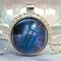 Doctor Who Necklace, Tardis Jewelry,Police box in galaxy space pendant Jewelry Necklace (XL22)