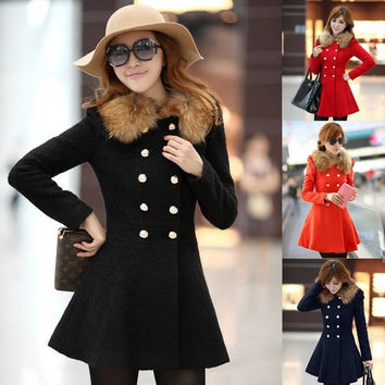 Women Winter Warm Wool Fur Collar Trench Coat Slim Parka Outwear Jacket Overcoat = 1932222916