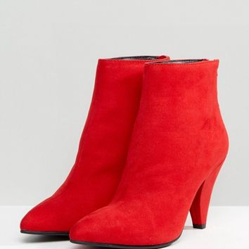New Look Suedette Cone Heeled Boot at asos.com
