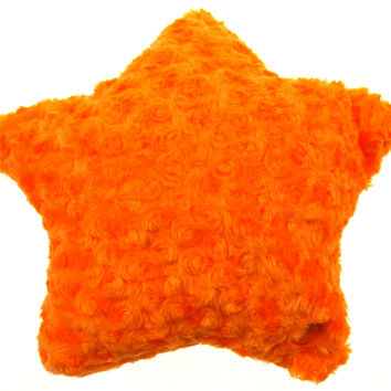 "Orange Star Plush Pillow Color LED Light Up Flash 13"" Microbeads Bed Couch Throw"