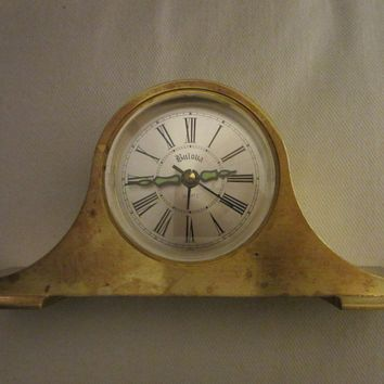 Bulova Japan Brass Mantle Clock Mid Century Quartz