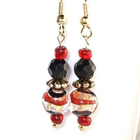ON SALE Lampwork Bead Earrings - Black Beads - Red Seed Beads - Nickel Free Ear Wires - Handmade