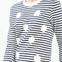 Polka Stripe Longsleeve Top by Boutique - Tops - Clothing