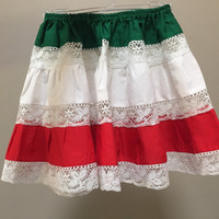Mexican Skirt, Vintage Girls Skirt, Red White Green Mexican Tiered Skirt, Girls Vintage Kids Tiered Lace Skirt, Cinco de Mayo Mexico Colors