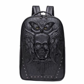 Cool Backpack school Fashion Skull Backpack 3D Leather Backpack Computer Laptop Backpack Cool Owl Women Men Travel Bags School Punk Rivets Bags AT_52_3