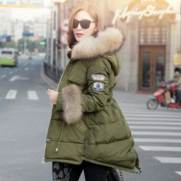 Nice Euro-Stars style new winter coat women slim hooded duck down long parka elegant natural raccoon fur down jacket coats S2282