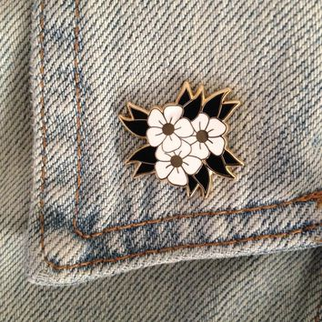White Flowers Enamel Pin