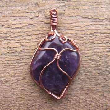 Beautiful Amethyst Wire Wrapped Pendant //  Amethyst Cabochon// Copper Wire Wrapped Gemstone// Beautiful Gemstone Cabochon