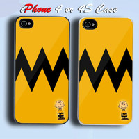 vintage Charlie Brown Custom iPhone 4 or 4S Case Cover