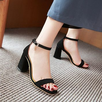 Ankle Straps Suede High Heels Sandals 2701