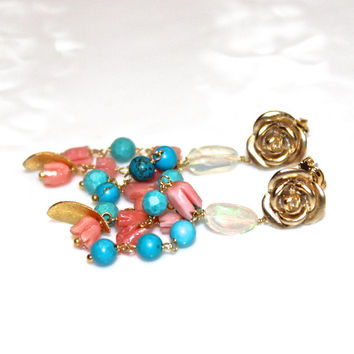 Vintage Coral Earrings Coral Jewelry Turquoise Earrings Opal Earrings Opal Jewelry Carved Coral Turquoise Jewelry Boho Jewelry Rose Earring
