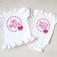 Big Sister Shirt and Little Sister Baby Bodysuit. Big Sister Little Sister Outfit. Pregnancy Reveal. Newborn Photography Prop.