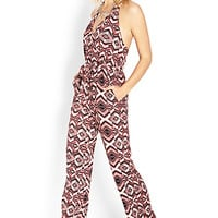 FOREVER 21 Groovy Goddess Surplice Jumpsuit Coral/Cream Large