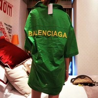 """Balenciaga"" Women Fashion Beaded Letter Middle Sleeve Cardigan Lapel Shirt Tops Sun Protection Clothing"