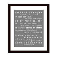 Christian Scripture Wall Art -Typography - Wall Decor -1st Corinthians 13 , 8x10 Print Poster, Includes Mat