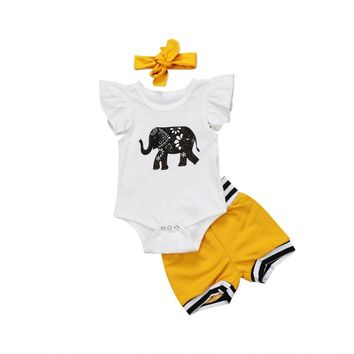 Abacaxi Kids Yellow Elephant 3pc Girls Outfit 3M-18M