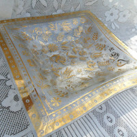 Georges Briard Mid Century Gold Tray Plate in Persian Garden Print