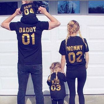 Family Look Clothing short Sleeve t shirt DADDY MOMMY KID BABY Girl Boy Clothes Family Matching Clothes