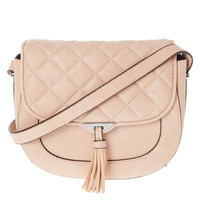 Quilted Tassel Pink Crossbody Bag