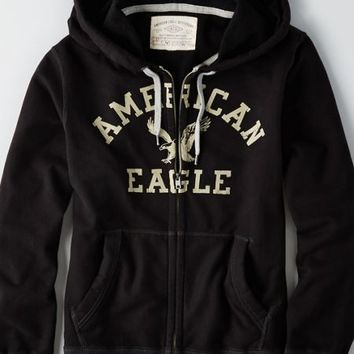 AEO Men's Graphic Zip Up Vintage Hoodie