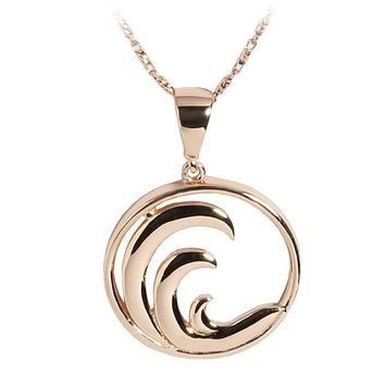 14K Pink Gold Wave in Circle Pendant(Chain Sold Separately)