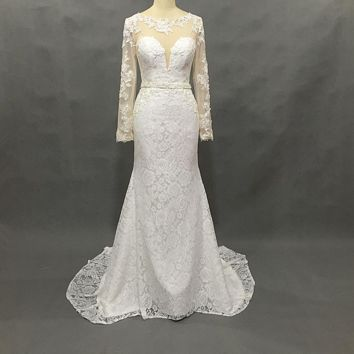 Sheer Tulle Lace Wedding Dresses with Long Sleeve Sheath Sexy Bridal Gown