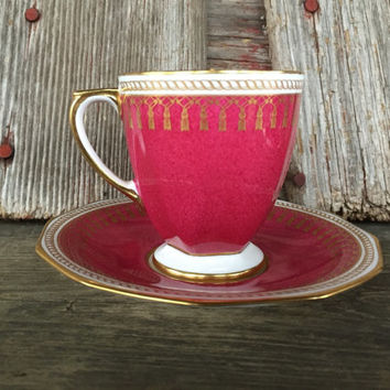 Vintage Copelands China Spode Maroon Ryde demitasse cup and saucer, Spode china tea cup / saucer, vintage England gold bone china tea set