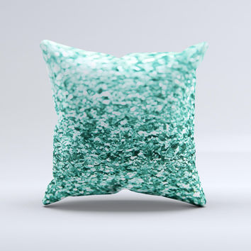 Tiffany Green Glimmer Ink-Fuzed Decorative Throw Pillow