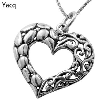 Yacq 925 Sterling Silver Heart Necklace Pendant W Chain Jewelry Birthday Gifts Women Wife Girlfriend Her Biker ping CN06
