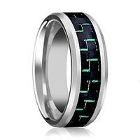Green Carbon Fiber Inlay Tungsten Couple Matching Wedding Band with Beveled Edges