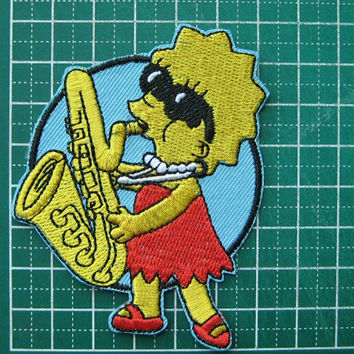 Iron-on Embroidered Patch Lisa Marie Simpson 3 inch