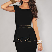 Black Sleeveless Gold Trim Peplum Mini Dress