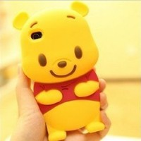 3D Cute Winnie Pooh Silicone Back Cover Case Skin Protector Apple iphone4 4S 4G