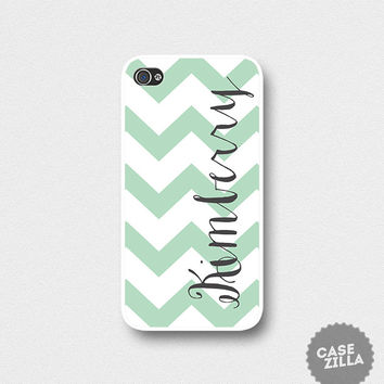 iPhone 5 Case Personalized Name Mint Green Chevron iPhone 5S Case, iPhone 4/4S Case, iPhone 5C Case