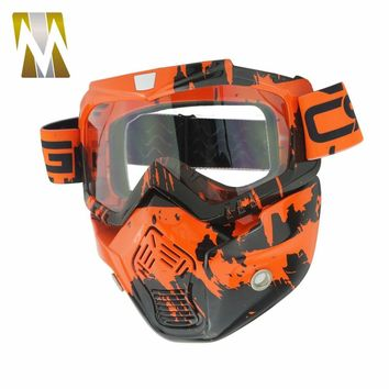 Camouflage Ski Motorcycle Face Mask Goggles Helmet Motocross Dirt Bike Off Road Cycling Face Detachable Goggle Glasses