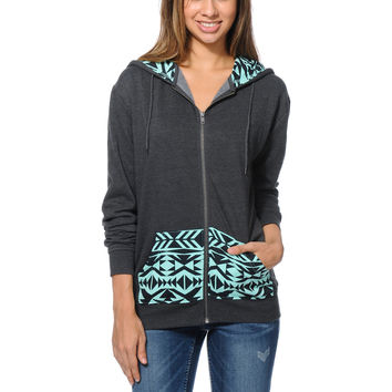 Empyre Girls Pico Tribal Print Oversized Charcoal Zip Up Hoodie at Zumiez : PDP