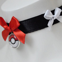 Kitten play day collar - Red pokeball - pokemon themed fan ddlg princess cute kawaii lolita costume - white petplay adult pet play choker