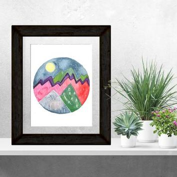 Mountain Watercolor, Full Moon, Mountain Lover, Mountain Gift, Mountain Painting, Mountain Art, Pink, Nature Art, Stars, Wall Art