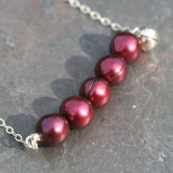 Red Pearl Necklace, Jingle Bell Necklace, Bell Charm Necklace, Holiday Necklace, Red Necklace, Sterling Necklace Maggie McMane Designs