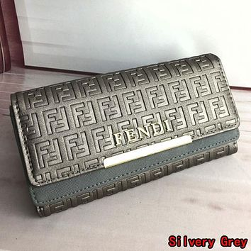 FENDI Fashion Women Men Leather Handbag Purse Wallet Silvery Grey