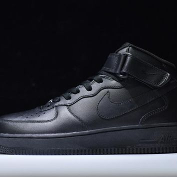 Originals Nike Air Force One 1 Mid All Black AF1  07 315123-001 db1258e826