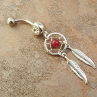 Raspberry Red Jasper Dream Catcher Belly Button Ring