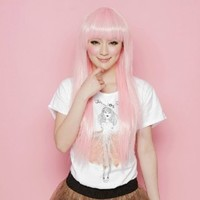 X&Y ANGEL- New Short Mixed Wavy Babydoll Lolita Highlight Pink And Blue Wig Wigs AQ452(TF2513HT2333)