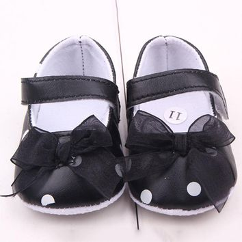 Cute Pink Ribbon Princess Lace Baby Polka Dot Shoes Newborn Girl First Walkers Anti-skid Shoes
