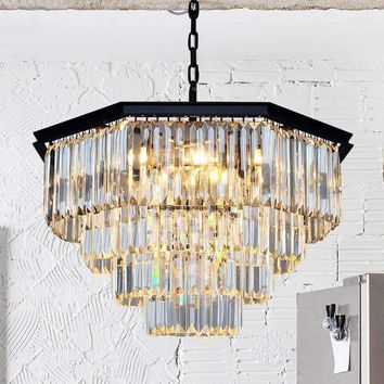 Z American Nordic Crystal Chandelier Retro Ceiling Fan Eight-square Design E14 LED Hanging Lamp Dining Room Lighting Fixture
