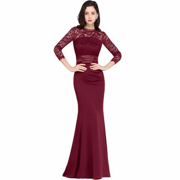 Cheap Burgundy Mermaid Long Formal Evening Dresses 2017 Long Sleeve Lace Prom Party Gowns Kaftan Robe De Soiree