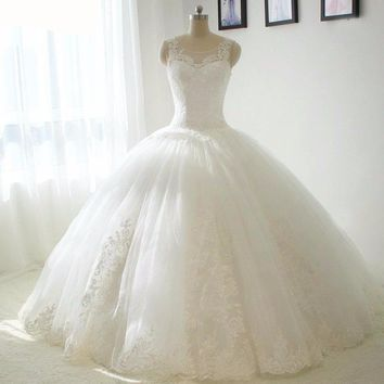 Ball Gown Puffy Wedding Dress Waistline