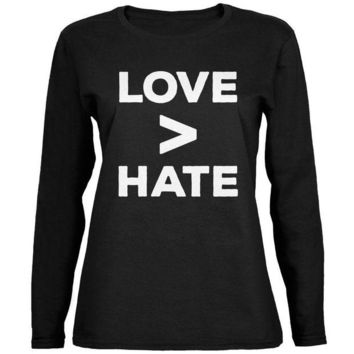 CUPUPWL Activist Love is Greater Than Hate Ladies' Relaxed Jersey Long-Sleeve Tee