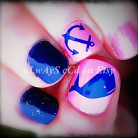 Whale and Anchor Toenail or Fingernail decals different sizes