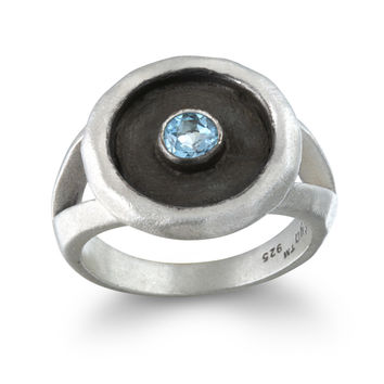Gunmetal and Silver Pyrite Sun Ring - Helios